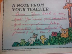 Teachers comments