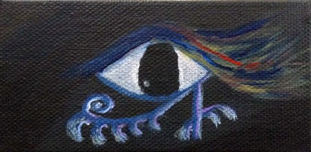 Cosmin Eye  4″x 2″ acrylic on canvas Dawn Blair ©2013 Sold Other works available at http://www.zibbet.com/dawnblair