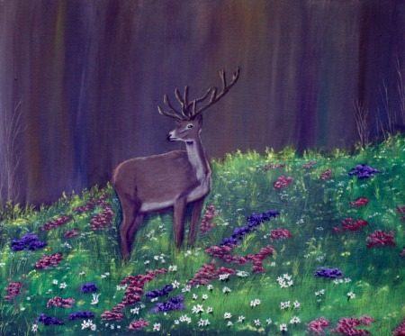 Raising a Buck  20X24X″ acrylic on canvas Dawn Blair ©2010