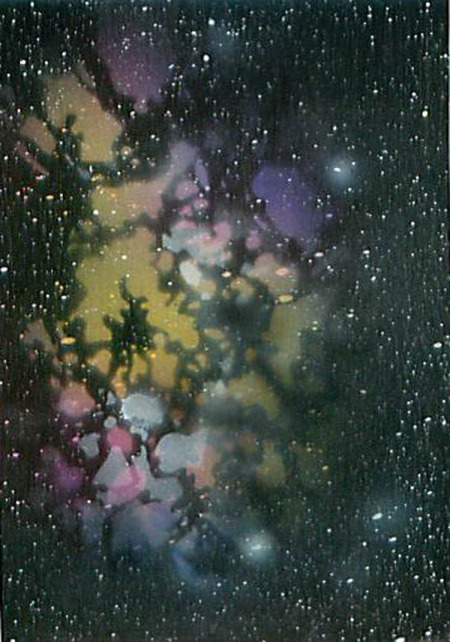 Space 2014-1 2.5 x 3.5 Acrylic on bristol board Dawn Blair ©2014