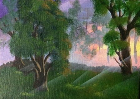 Speckled Sunlight #4214017 8x6 acrylic on canvas board Dawn Blair ©2014