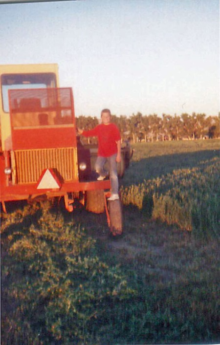 A swather from behind.  You can see the row of hay it's spitting out as well as the alfalfa crop growing off to the right of the photo. That's my brother standing on the tractor tire. Kids, don't try this at home!  (why is it that I say that often when I see a photo with my brother in it?)