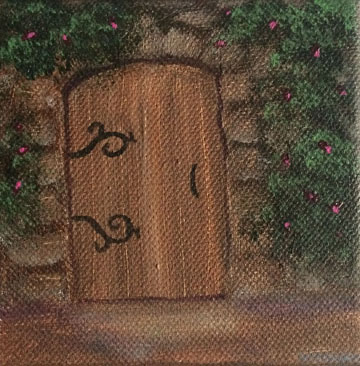 Doorway 4x4 acrylic on wrapped canvas Dawn Blair ©2014 $20.00 on Zibbet (free shipping)