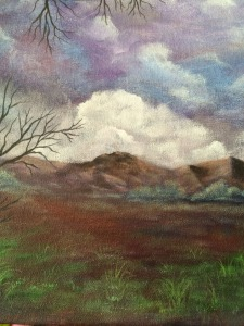 A cloudy start (closeup where castle was) Work in process Dawn Blair ©2015