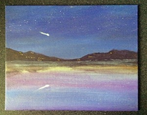 Comet on the Skyline 10x8 acrylic on canvas Dawn Blair ©2015
