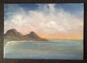 Ocean Sunset 7x5 acrylic on canvas Dawn Blair ©2015