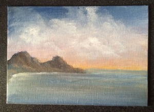 Ocean Sunset 7x5 acrylic on canvas Dawn Blair ©2015