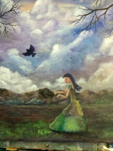 A cloudy start (closeup of girl and bird blocked in) Work in process Dawn Blair ©2015
