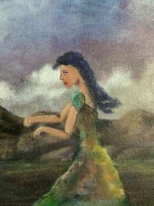 A cloudy start (closeup of girl) Work in process Dawn Blair ©2015