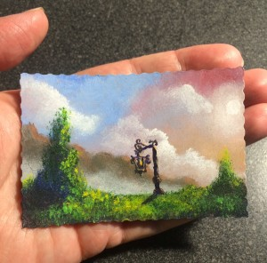 I'm holding my ACEO so you can see ruffle cut sides - cool, don't you think? Lantern #2015-14 3.5