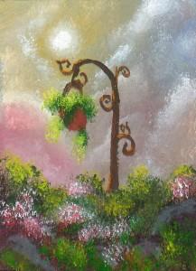 "Magical Landscape #2015-18 2.5""x3.5"" on bristol board Dawn Blair ©2015 http://www.ebay.com/itm/ACEO-original-acrylic-painting-clouds-sunset-flowers-landscape-18-Dawn-Blair-/221868785148"