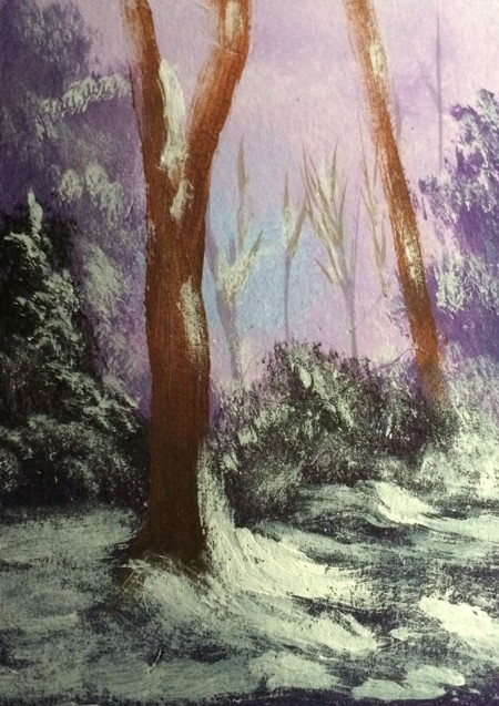 "Snowy Day #2015-1 2.5""x3.5"" on bristol board Dawn Blair ©2015 http://www.ebay.com/itm/-/221862055214"