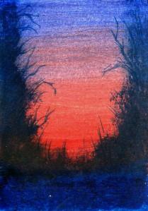"Snowy Day #2015-1 2.5""x3.5"" on bristol board Dawn Blair ©2015 http://www.ebay.com/itm/ACEO-original-acrylic-painting-sunset-landscape-trees-2-by-artist-Dawn-Blair-/221861762337"