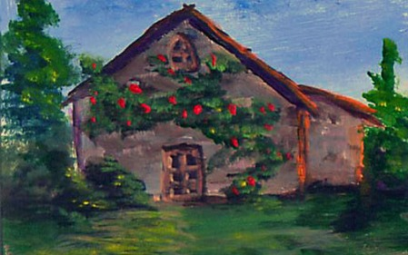 "House #2014-48 3.5""x2.5"" on bristol board Dawn Blair ©2014 http://www.ebay.com/itm/ACEO-original-acrylic-painting-medieval-house-vines-landscape-48-Dawn-Blair-/321852432362"