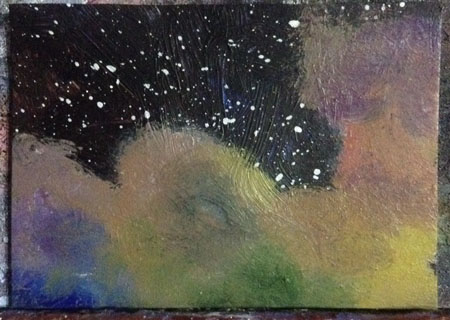 Space ACEO Work in process Dawn Blair ©2015