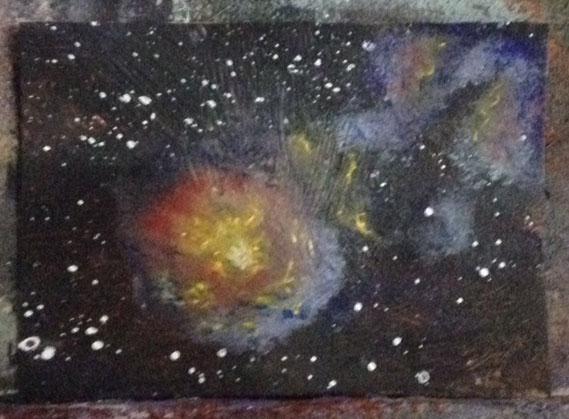 Space ACEO Work in process Dawn Blair ©2015