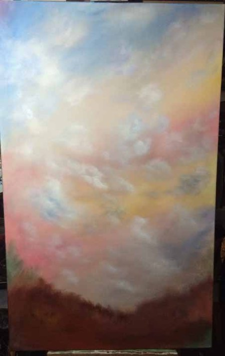 "Top of the World 48"" x 30"" acrylic on wrapped canvas Work in process #2 Dawn Blair ©2015"