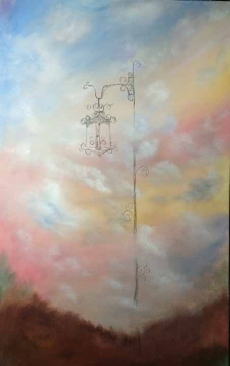 "Top of the World 48"" x 30"" acrylic on wrapped canvas Work in process #3 Dawn Blair ©2015"